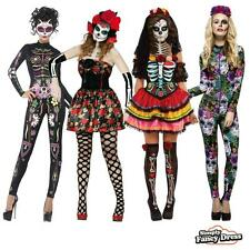 Ladies Day of the Dead Halloween Skeleton Party Fancy Dress Costume