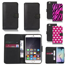 black pu leather wallet case cover for many mobiles design ref q723