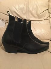 New  Black Leather Retro Sole Chelsea Beat Boots with Cuban Heel
