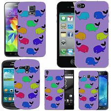 gel case cover for many mobiles - violet colourful funky wales silicone