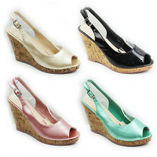 WOMENS LADIES PLATFORM CORK WEDGE HEEL EEP TOE SLINGBACK SANDALS SHOES SIZE 3-8