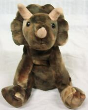 "Animal Alley NICE SOFT BROWN TRICERATOPS DINOSAUR 12"" Plush STUFFED ANIMAL Toy"