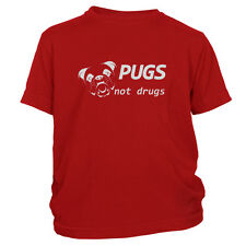 Kid's Pugs Not Drugs T-Shirt Funny Dog Lover Just Say No Tee Shirt FREE S&H!
