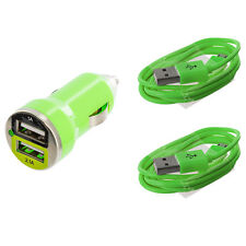 Neon Green Dual 2 Port USB Car Charger 2.1+1 Amp + 2X Cable Cord For Cell Phones