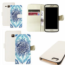 pu leather wallet case for majority Mobile phones - blue delighted floral white