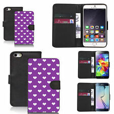 pu leather wallet case for many Mobile phones - purple populous heart