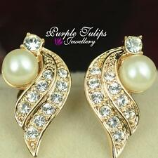 18K Rose/White Gold Plated Angel Wing Pearl Clip on Earrings W/Swarovski Crystal