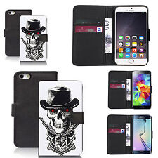 pu leather wallet case for many Mobile phones - skull guns