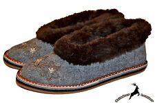 Women's Sheep Wool Ladies Shoes Moccasins Gray Handmade Winter Boots Slippers