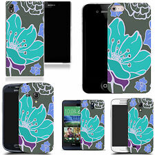 gel case cover for many mobiles - aqua poppy silicone