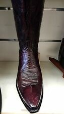New Lucchese A1022.54 Black Cherry smooth Ostrich Snip Toe Cowboy Boot USA made