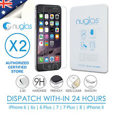 2x NUGLAS Screen Protector 9H Tempered Glass for iphone 8 7 6 6s PLUS (X) Lot