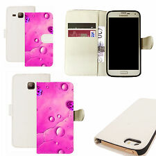 pu leather wallet case for majority Mobile phones - pink rain ladybird white