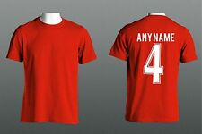 RED FOOTBALL T SHIRT- TEAM COLOURS NAME & NUMBER ON BACK - ADULTS & KIDS SIZES
