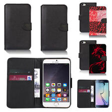 black pu leather wallet case cover for many mobiles design ref q658