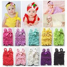Newborn Baby Toddler Ruffle Lace Petti Romper Dress Jumpsuit Straps Photo 3-24M