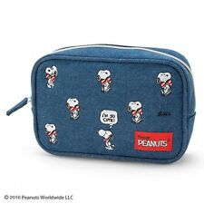 PEANUTS SNOOPY Denim Makeup Pouch Tissue Case  Cosmetic Bag Purse Japan S6187
