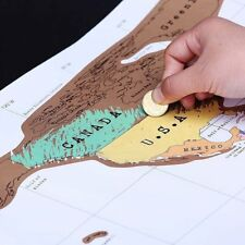 Deluxe Travel Scratch Off World Map Poster Personalized Journal Log Gift New BU