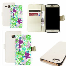 pu leather wallet case for majority Mobile phones - garland white