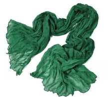 Girls Women Pure Long Crinkle Soft Scarf Wrap Stole Shawl Voile green pink brown