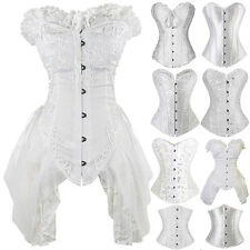 Women's White Sexy Lace Up Boned Waist Cincher Party Corset Overbust Bustier Top