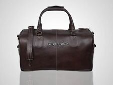 HOLDALL BROWN GLAZE WEEKEND TRAVEL GYM LIGHT WEIGHT LARGE CAPACITY LEATHER BAG