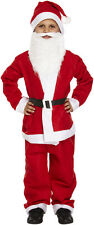 CHILD KIDS SANTA SUIT WITH BEARD FATHER CHRISTMAS FANCY DRESS BOYS COSTUME SMALL