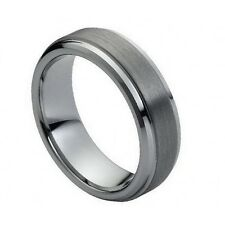Men's 7mm Tungsten Carbide Wedding Band Ring with Step Down Edges