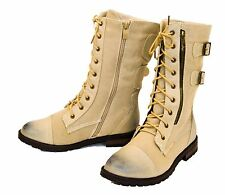 Women's Military Combat Lace Up Buckle Fabric Mid Calf Boots Shoes Low Heel