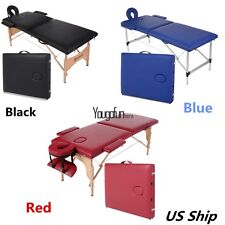 84''Portable Aluminum  Wood 2 Section Massage Table Facial SPA Bed Tattoo