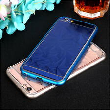 For iPhone 7 6 Diamond Mirror Case Bumper Metal Frame Front+Back Tempered Glass
