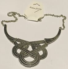 "Silver toned ""Knotted"" Necklace by Fashion Jewelry Lobster claw clasp"