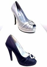 Dyeables Gianna Satin Peep Toe Pumps Choose Sz/Color