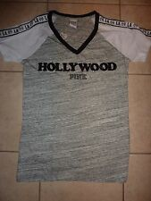 "VICTORIAS SECRET PINK ""HOLLYWOOD"" ""PINK""  BLING SEQUIN VNECK TEE NWT"