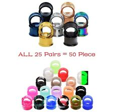50Pieces Stainless Steel Ear Expanders Plugs+Silicone Ear Gauge Kits Ear Tunnels