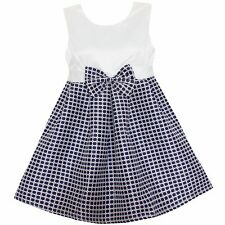 Girls Dress Plaid Bow Party Pageant Casual Children  Clothes Size 2-12