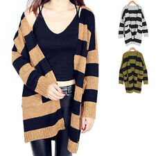 Women Fashion Autumn Winter Outerwear Loose Long Knit Cardigan Sweater Coat Tops