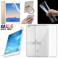Ring Holder Clear TPU Case Cover Soft Nano Screen Protector Film for Apple iPad