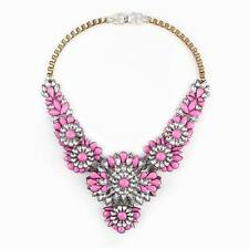 gold chain colorful crystal flower big pendant chunky necklace jewelry for women