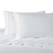 California King Bed Sheet Set-300 Thread Count Stripe Cotton Deep Pocket Sheets