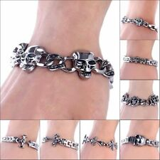 316L Stainless Steel Silver Skull Cross Charms Link Chain Bracelet (Men's/Women)
