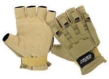 TAN Paintball Tactical Airsoft Hunting Cycling Armour Half Finger Less Gloves UK
