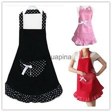 Fashion Bowknot Kitchen Cooking Aprons with Pocket For Women Lady Gift 3 Colors