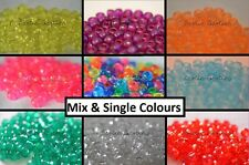 Frosted Transparent Pony Beads - Mix & Single Colour - 9 x 6mm - Barrel Beads