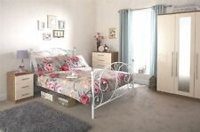 PANACHE METAL BED FRAME BEDSTEAD W/ CRYSTAL GLASS FINIALS WHITE 4FT6 5FT