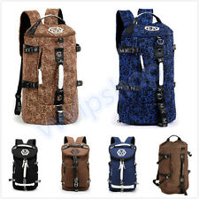 Vintage Canvas Backpack Hiking Travel Cylinder Messenger Tote Bag School Bag New