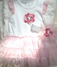 NEW WHITE PINK BODYSUIT TUTU HEADBAND SET OUTFIT 3 6 9 MONTHS GIRLS BABY INFANT