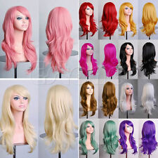 Colorful Curly Wavy Anime Womens Long Hair Wig Party Full Wigs Costume Cosplay