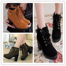 Women's short boots Faux Suede high heel thick with Ankle boots Lace Up Shoes