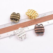 Lots 3/5/10Sets GOLD &SILVER,BRONZE,COPPER 2 Strands Magnetic Slide Clasps Hooks
